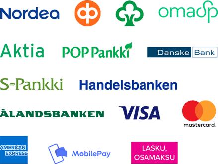 Verkkokaupassa voi maksaa kaikilla yleisimmillä suomalaisialla pankki- ja luottokorteilla sekä laskulla.