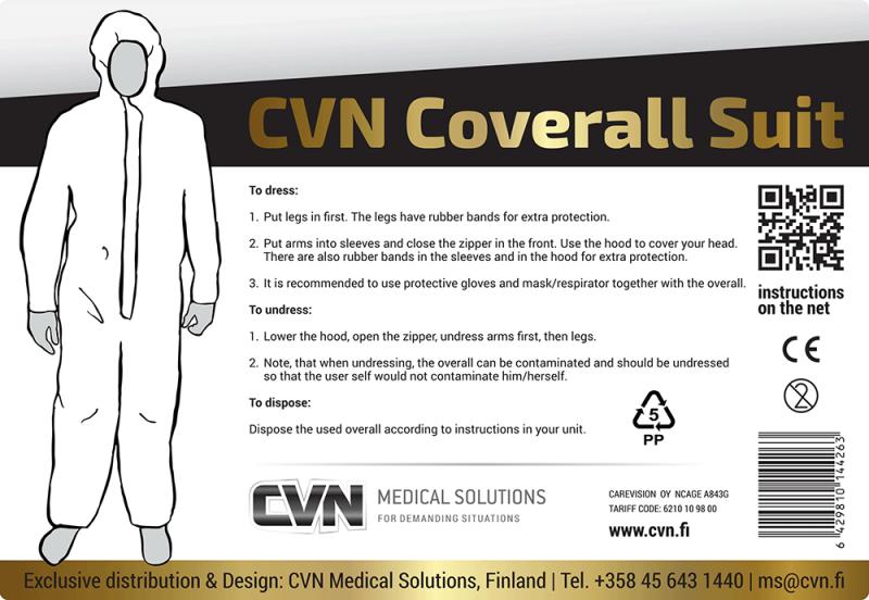 CVN Coverall Suite - valkoinen suojahaalari
